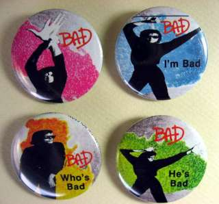 MICHAEL JACKSON BAD 1980s Pinback Buttons Pins Badges 4 Different