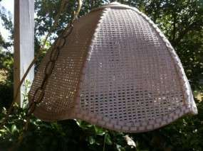Vintage Chic Shabby Hanging Wicker Swag Lamp Shade