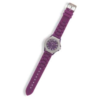 Purple Rubber Round Face Silver Tone Crystal Watch