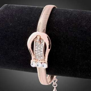 Swarovski Crystal Rose Gold GP Buckle Chain Bracelet