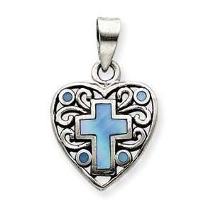 Pearl Cross Heart Pendant with 18 Inch Stainless Steel Chain Jewelry