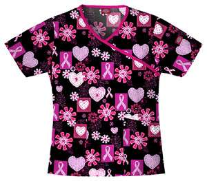Dickies Medical   Dental Uniform Scrubs   Print Top Pink Ribbon Hearts