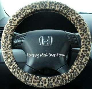 Car Truck Universal Grip Steering Wheel Cover Soft Cheetah Cat Animal