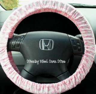 Car Steering Wheel Cover Pink Breast Cancer Ribbon Dots