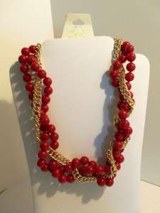 Amrita Singh Large Bold Ruby Red Beads Gold Tone Link Necklace NWT