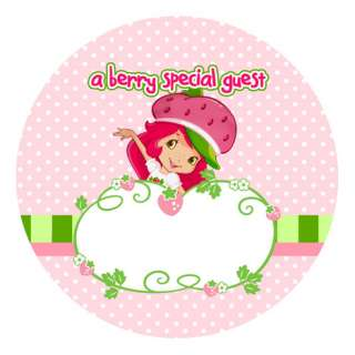 STRAWBERRY SHORTCAKE Personalized Party Favors NAME TAG STICKERS