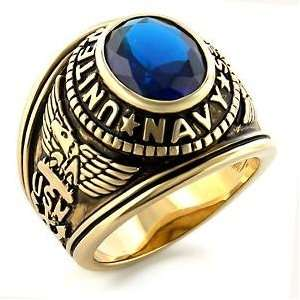 : MILITARY RING FOR MEN   Gold Plated Oval Blue CZ Navy Ring: Jewelry