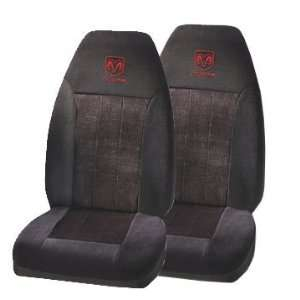 2 Front Seat Covers   Red Dodge Ram Logo Automotive
