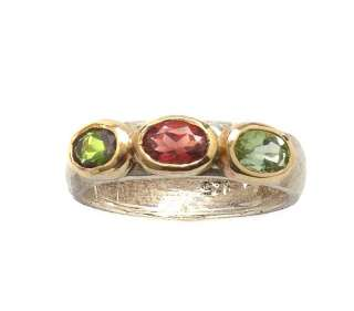 925 silver gold watermelon tourmaline ladies ring R309
