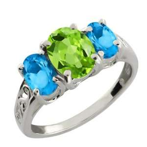 Oval Swiss Blue Topaz and Green Peridot 18k White Gold Ring Jewelry